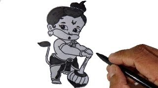 How to draw Hanuman - Cartoon monkey look.