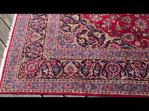 9 x 12 Garnet Red Kashan Rug 1950's Vintage