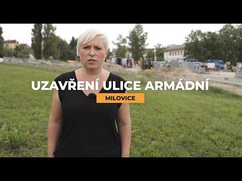 Uzavírka Armádní ulice - Milovice