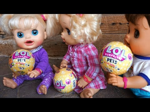 LOL SURPRISE PETS Reveal With BABY ALIVE Dolls!