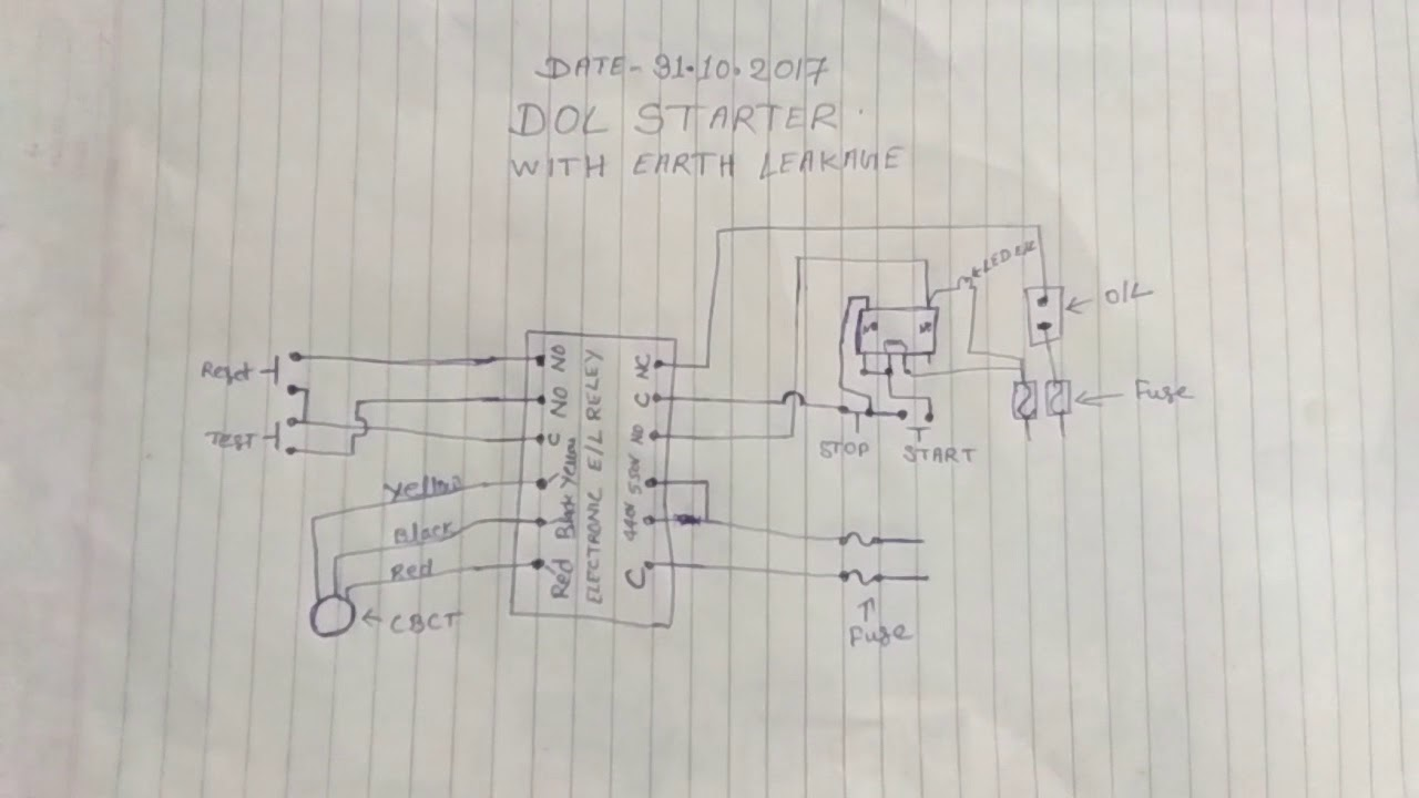 D o l starter with earth leakage diagram youtube d o l starter with earth leakage diagram ccuart Gallery