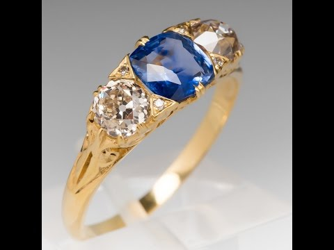 Antique Victorian Blue Sapphire Ring Old Mine Cut Diamond Accents
