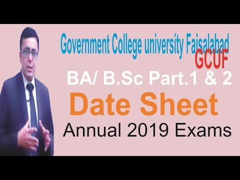 BA/B Sc Part 1 and 2 GCUF Annual 2019 Exams Date Sheet