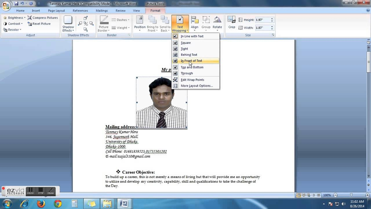 how to insert photo in cv