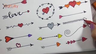 Arrows Doodle drawing | How to draw 28 Heart Arrows doodle | Doodle Arrows | Bullet Journal Elements
