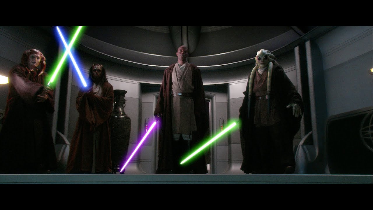 Darth Sidious Vs Mace Windu Saesee Tiin Agen Kolar And Kit Fisto English Youtube