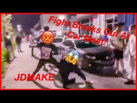 Two HUGE fight break lose at a Car Meet! (Cops Showed up!)