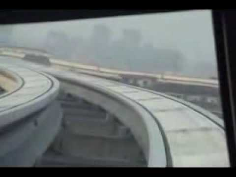 Shanghai Maglev train interior and driver's window view