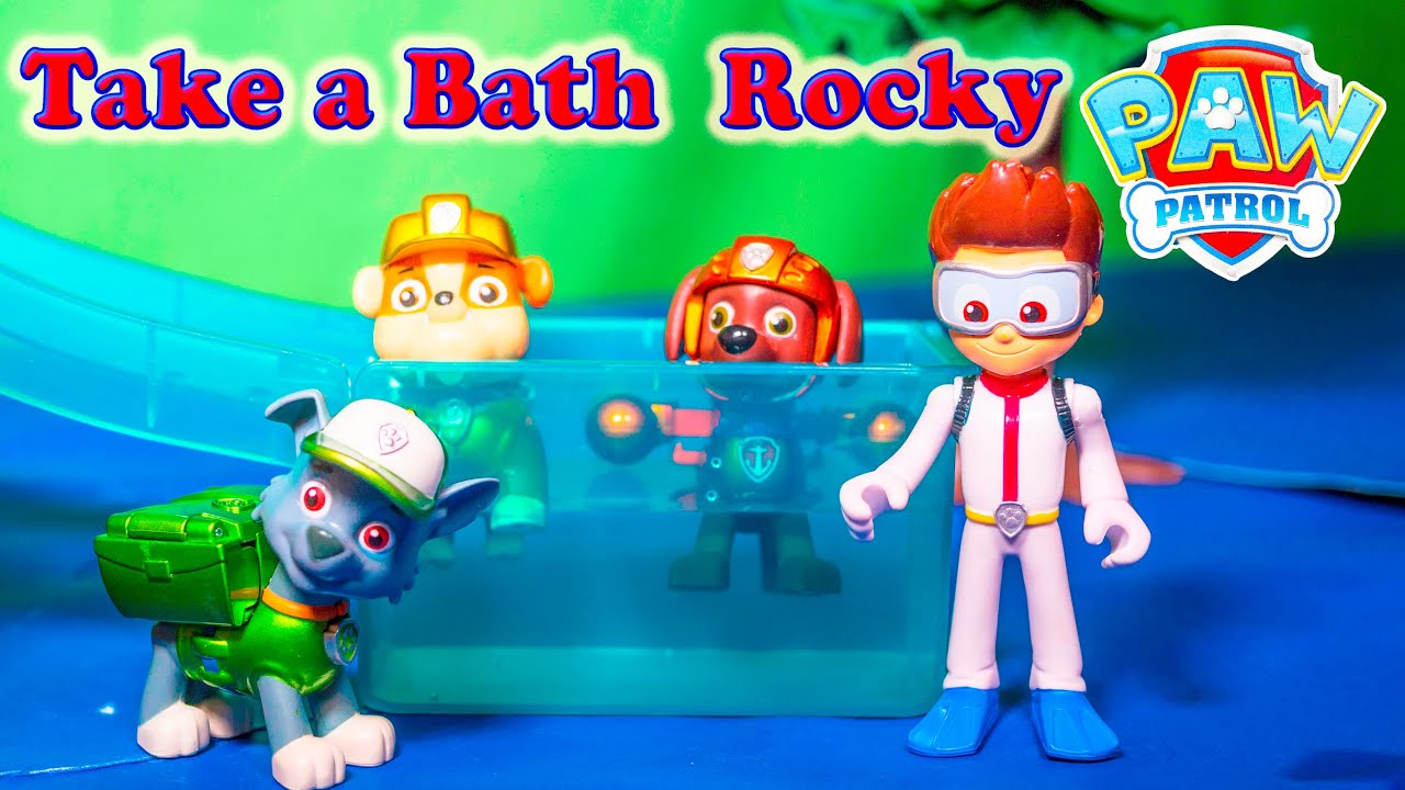 Paw Patrol Take A Bath Rocky In The Cars Car Wash Funny Toy Video   YouTube