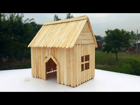 How to make ice cream stick house craft Easy house making