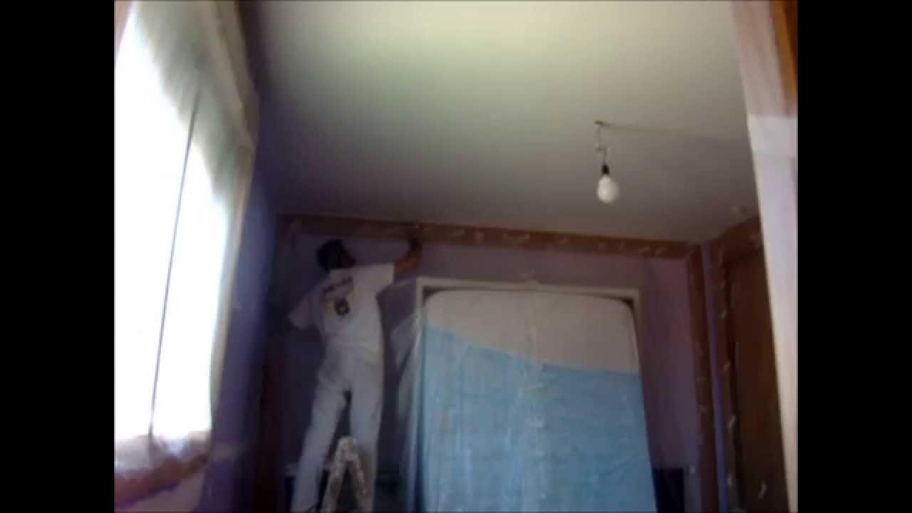 Como recortar esquinas y pintar techos a rodillo youtube - Como pintar techos ...