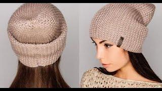 Шапка бини спицами♥Простая шапка+мастер класс.Вязание шапки спицами бини