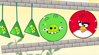 Angry Birds Pigs Out vs Kick Out Green Pigs - HUGE ROUND BIRD ROLLING TO SMALL TRIANGLE PIGS!