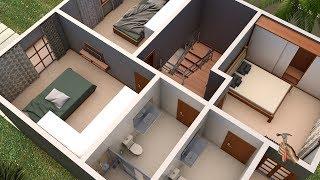 Planta 3D de Casa Duplex com três quartos garagem e