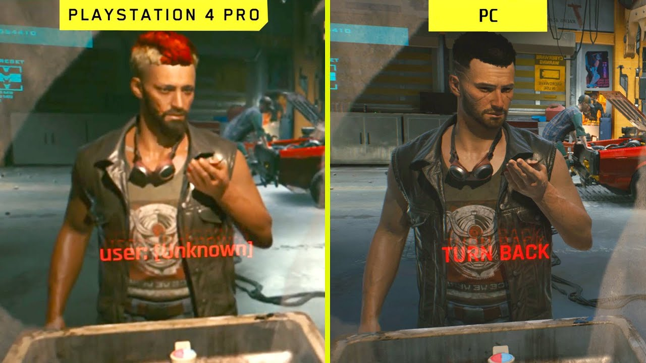 Cyberpunk 2077 PS4 Pro graphics vs. PC graphics.