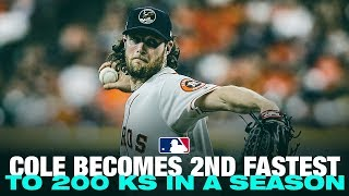 Cole becomes 2nd fastest to 200 strikeouts EVER in a season