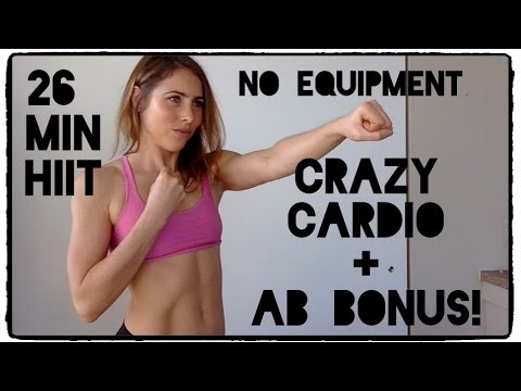 20 Min Crazy Cardio HIIT + 6 Min Ab Bonus! No Equipment