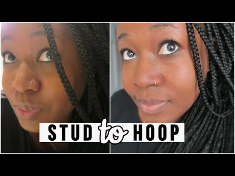 CHANGING MY NOSE STUD TO NOSE HOOP FOR THE FIRST TIME! | Hellotinashe