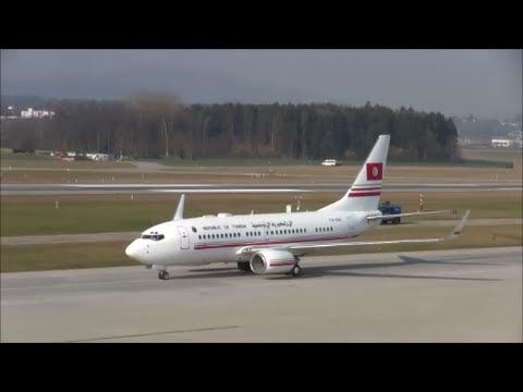 (Live ATC) Government of Tunisia (State visit) Boeing 737 at ZRH
