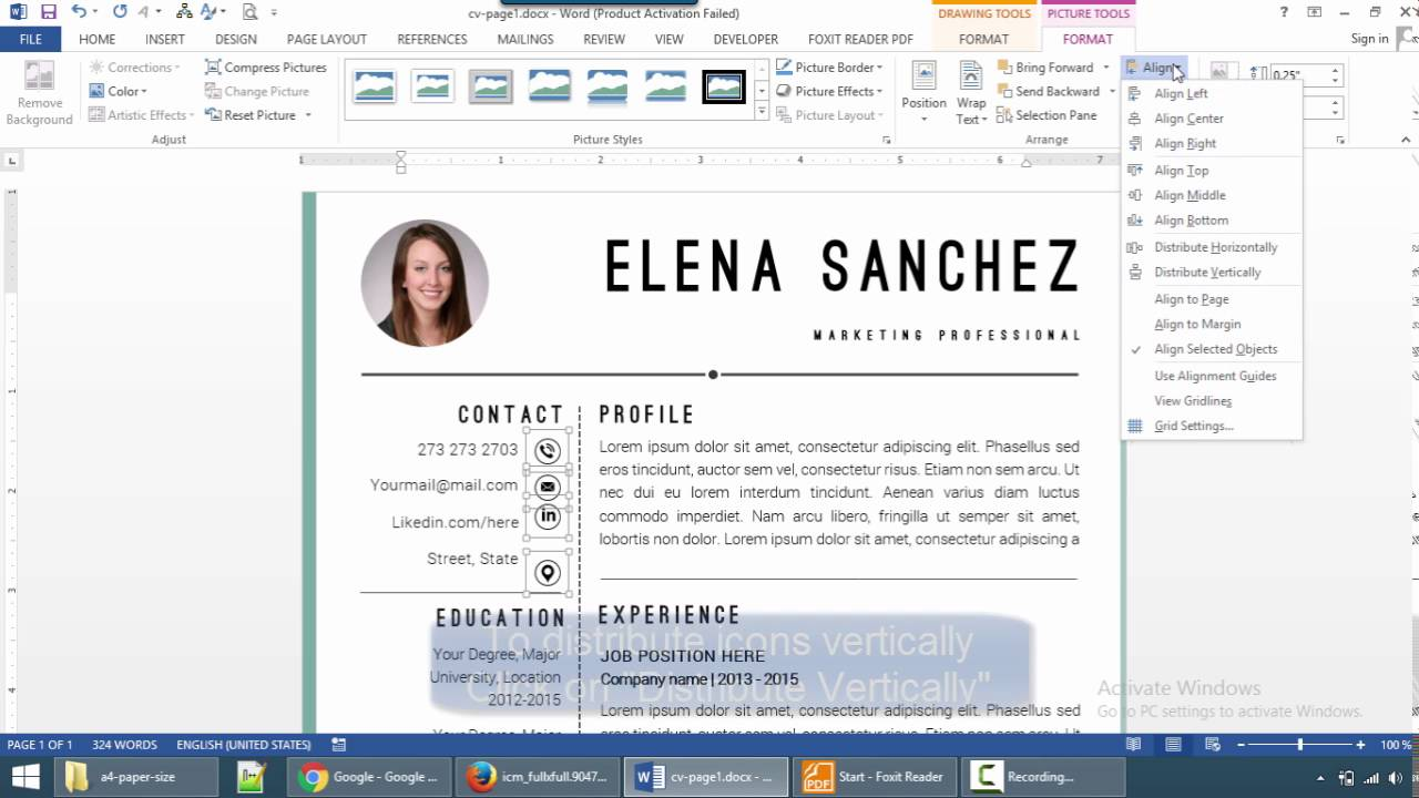 how to align objects in resume template ms word youtube