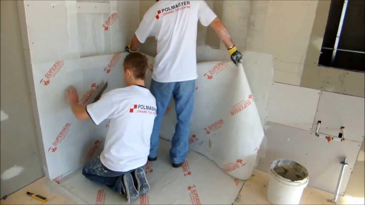 Shower wall and floor membrane installation. - YouTube
