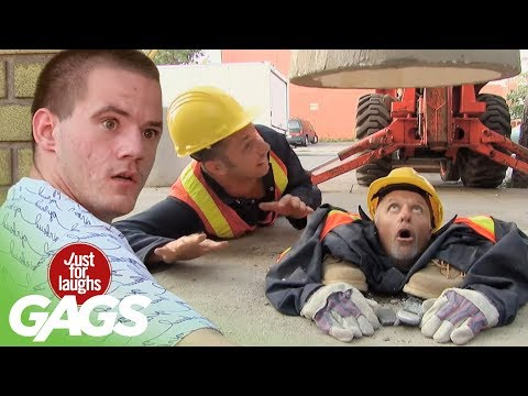 Man Crushed by Cement Prank - Just For Laughs Gags