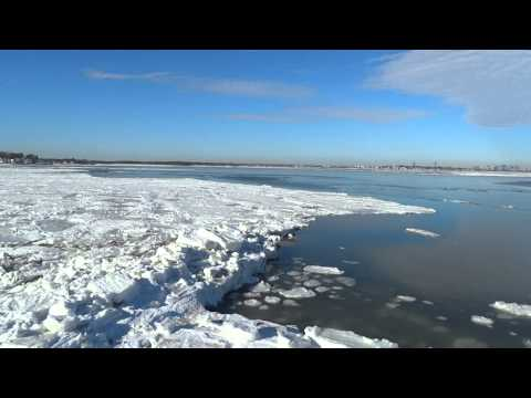Ice on Quincy Bay looking towards Boston from Sea Street, Quincy MA