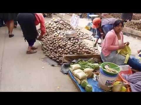 Walking Through the Outdoor Market in Cajamarca, Peru