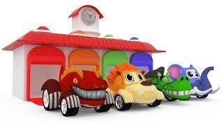 Learn colors with 3D Animals cars ( Horse car, Dinosaur car, Elephant car, Lion car ) For Kids