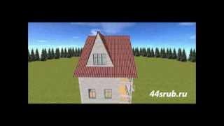 Дом из бруса 6х8, 3D-проект