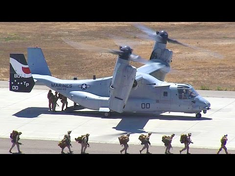 MV-22 Osprey Tiltrotor Aircraft Air Lift U.S. Marine Battalion