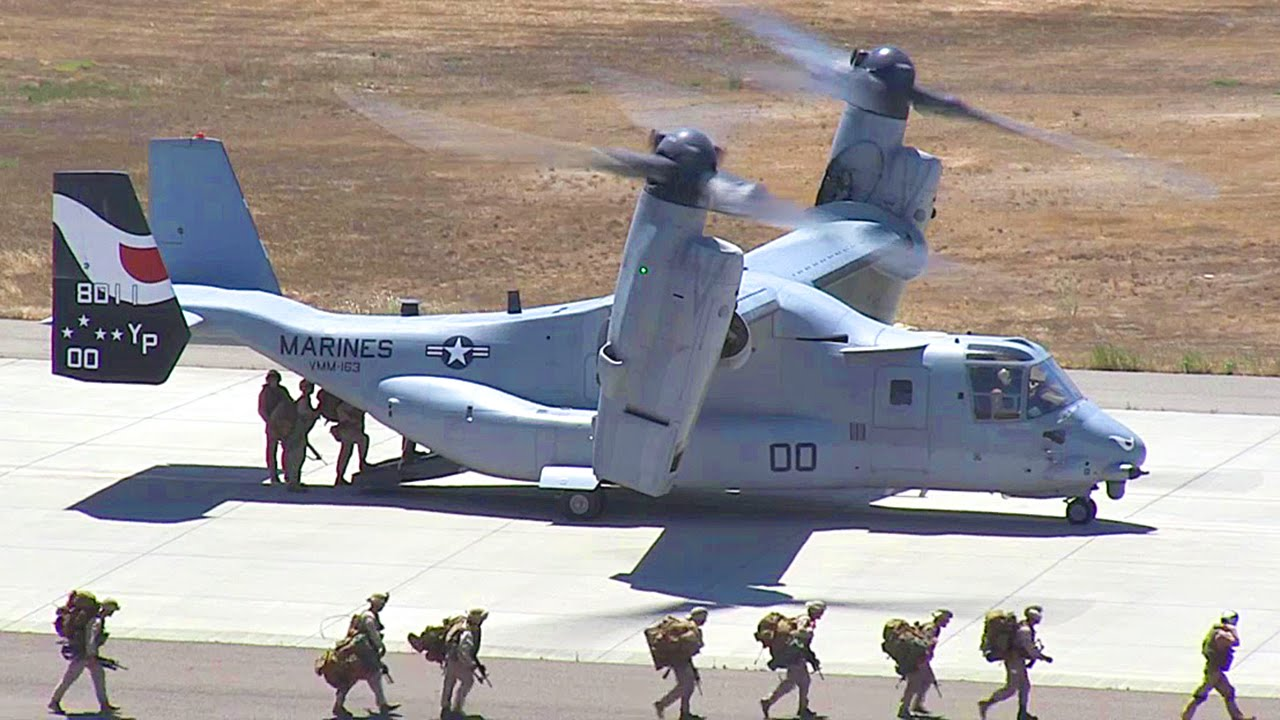 The Us Marines Hybrid Transformer Helicopter Plane In Action V 22 Osprey You