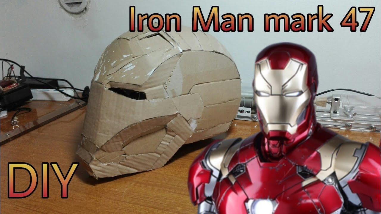 Iron Man Mark 47 Helmet Part 1 Cardboard Cut Glue Template