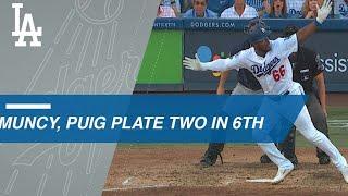 Max Muncy and Yasiel Puig hit RBI singles as the Dodgers take a 3-1...