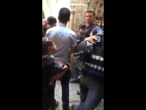 a Palestinian girl against an Israeli policeman