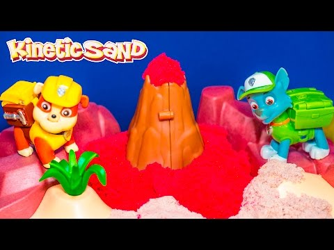 PAW PATROL Nickelodeon Kinetic Sand Volcano with Paw Patrol Video Toy Unboxing