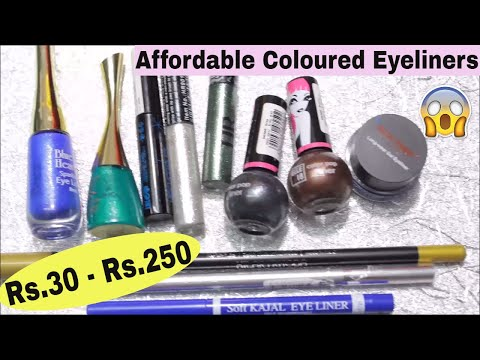Very Affordable Coloured Eyeliners || Rs.30 - Rs.250 || Review & Swatches || Indian Beauty Surbhi ||