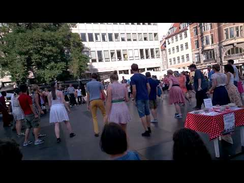 Group of tap dancer in Copenhagen's downtown