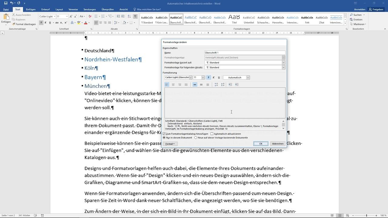 Word Inhaltsverzeichnis Formatieren Abstände Anpassen Tutorial