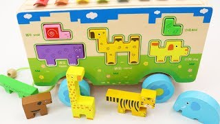 Learn Colors & Animals with Wooden Truck and Toy Animals for Children Toddlers