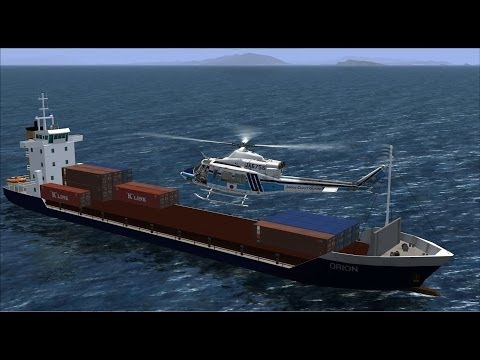 FSX VATSIM+ATC RJFF  JAPAN COAST GUARD BELL412 SAR MISSON 20140524