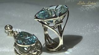 ELLADA ring and pendant by Lala Lotos. Gold, blue topaz and diamonds.
