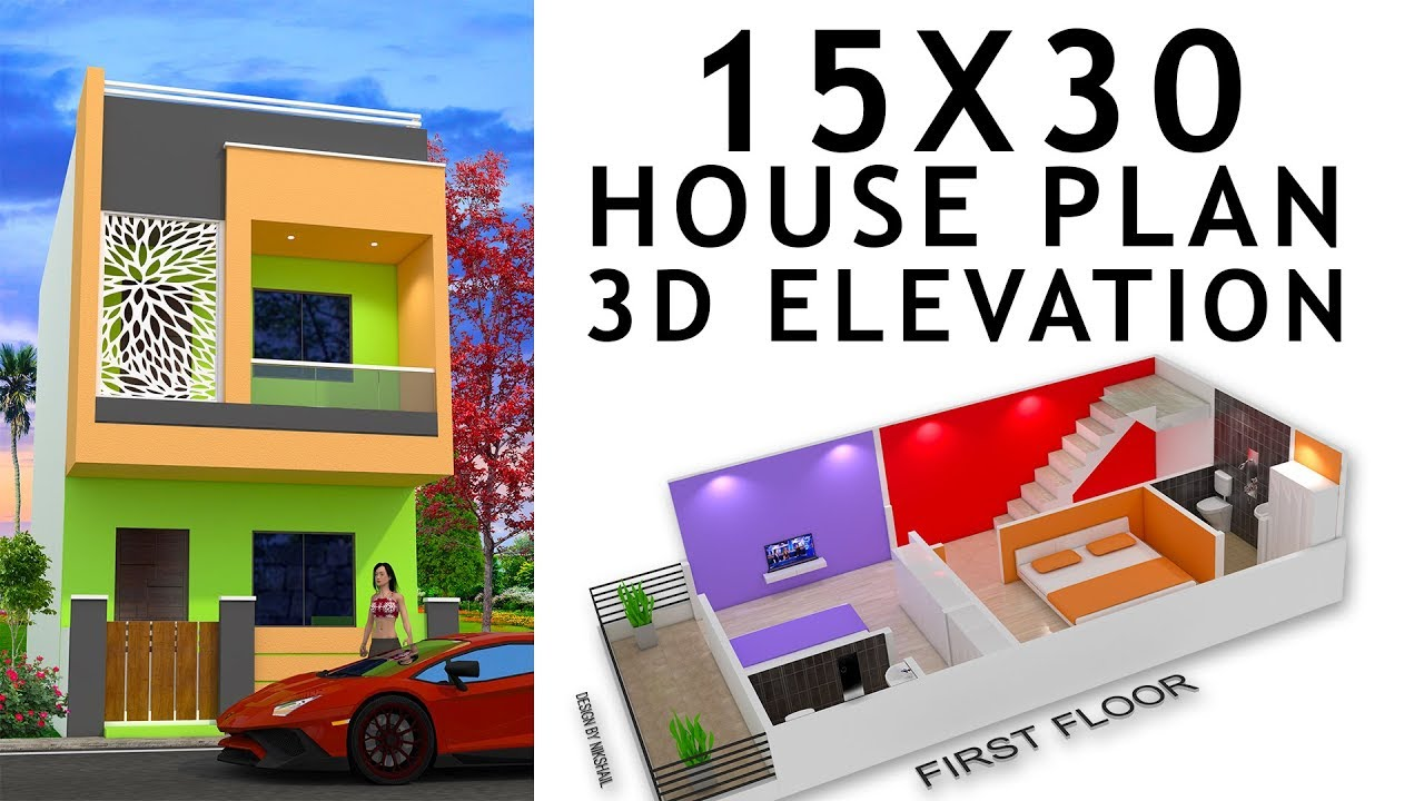 15x30 House Plan With 3d Elevation By Nikshail