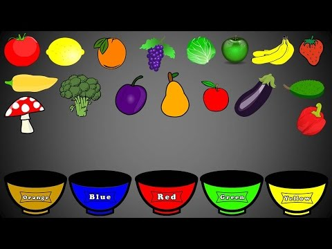Fruits And Vegetables Colors Color Sorting For Kids Educational Video Kindergarten Preschool