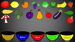 Fruits and Vegetables Colors Color Sorting For Kids Educational Video Kindergarten Preschool Game