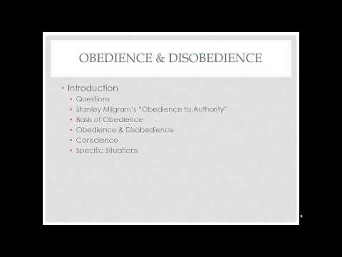 Introduction to Obedience & Disobedience