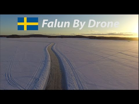 Ice Skating On Lake Runn (Sweden) | Falun By Drone