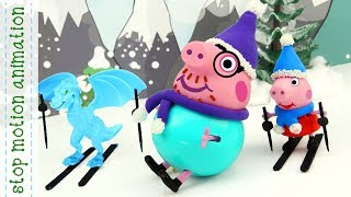 Skiing in the mountains Peppa pig toys All new english episodes 2018 HD