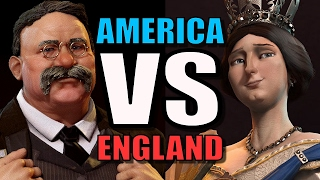 AMER CA VS ENGLAND  Civilization 6 A  Only 1v1 Civ 6 Gameplay Teddy VS Victoria