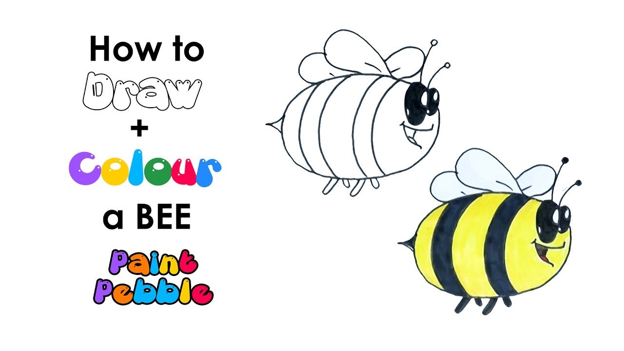 How To Draw A Cute Bee Step By Step Easy Bee Drawing For Kids Youtube